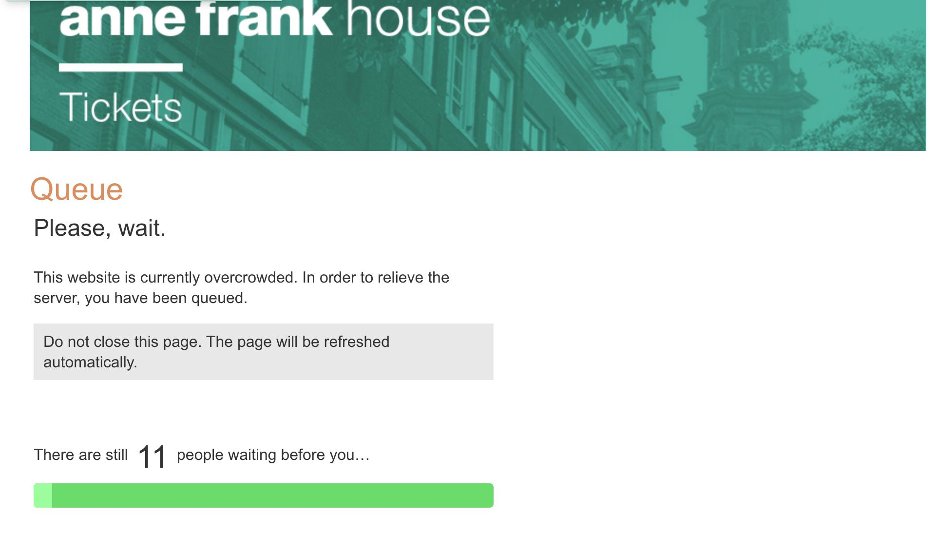 Online queue for Anne Frank Museum tickets